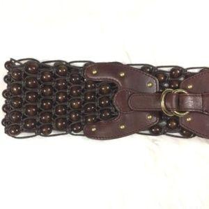 Michael Kors Genuine Leather Belt Brass Wood Boho